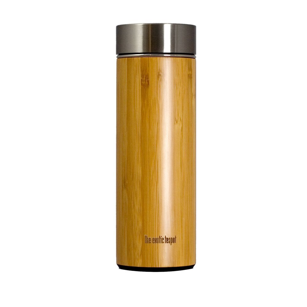 Bamboo thermal travel flask